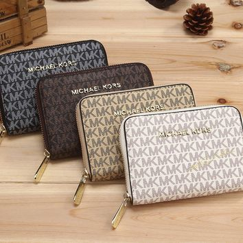 """Michael Kors"" Women MK Small Purse Classic Retro Letter Print Short Section Zip Double Layer Wallet"