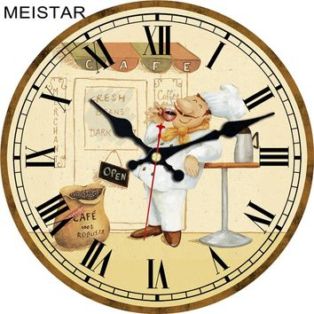 MEISTAR Fashion Wall Clocks Figure Cook Design Silent Durable Kitchen Office Living Room Decorative Art Wall Watches
