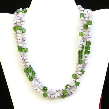 Extra Long Multistrand Lilac Jasper Necklace, Purple Green Triple Wrap Bohemian Stone Nugget Jewelry, OOAK Handmade Unique, ALFAdesigns