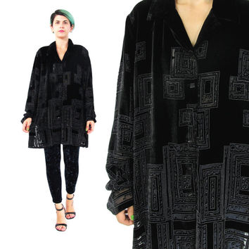 90s Black Burnout Velvet Shirt Grunge Painted Velvet Blouse Abstract Long Sleeve Shirt Semi Sheer Button Down Velvet Womens Shirt (L/XL)