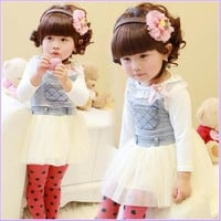 Children's Dresses 2015 Summer Girls Cowboys Fight Yarn Strap Dress.