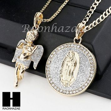 ICED OUT ANGEL & GUADALUPE ROUND PENDANT BOX CUBAN CHAIN DOUBLE NECKLACE SET SD3