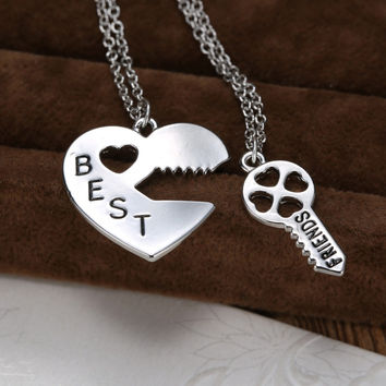 2 Pieces Vintage Personalized puzzle Best Friends pendant friendships necklace silver heart Lock and Kay pendant for friends