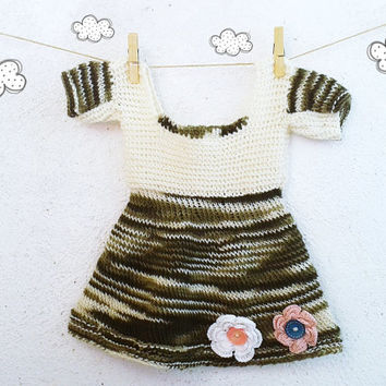 Autumn Hand knit  Baby girl dress 12 months girl clothing OOAK Ready to ship