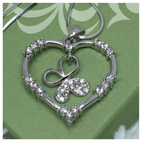 Beautiful Eye Catching Crystal Accented Open Heart Butterfly Pendant Necklace