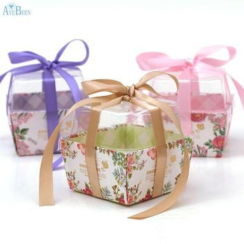 New: 20pcs Wedding Event Candy Box with Ribbon Dessert Packaging Flower