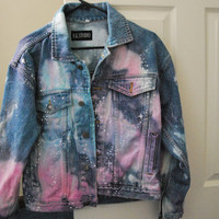 Denim Jean Galaxy Jacket Celestial Hippie Hipster Designer Hand Painted Urban