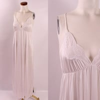 Vintage 70s 80s -  White See Through Floral Lace Low Cut  Spaghetti Strap Long Nightgown Nightie Lingerie Bridal M/L