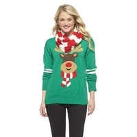 Rudolph Holiday Sweater w/ Scarf Green