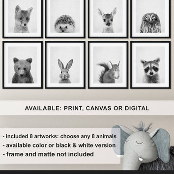 Set of 8 prints Woodland baby animals, Black and white Woodland animal nursery decor, Forest friends nursery, Forest animal baby Print/Canva