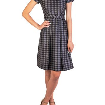 Prada Women's Wool Silk Blend Checkered Dress Grey (Size: 40, Color: Grey)