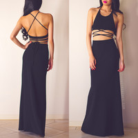 Us Against The World Two-piece Maxi Dress - Black