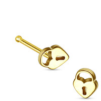 Lock and Key Gold Nose Bone Body Jewelry 20ga Nose Jewelry Body Piercing