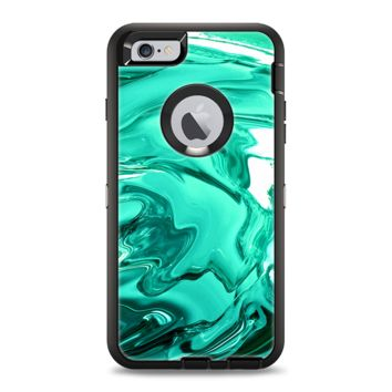 The Bright Trendy Green Color Swirled Apple iPhone 6 Otterbox Defender Case Skin