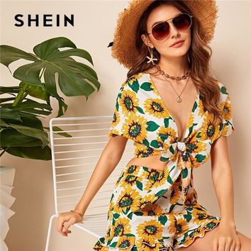 SHEIN Sunflower Knotted Crop Top And Ruffle Hem Shorts Two Piece Set Women Summer Vacation Sexy V Neck Blouse Matching Sets