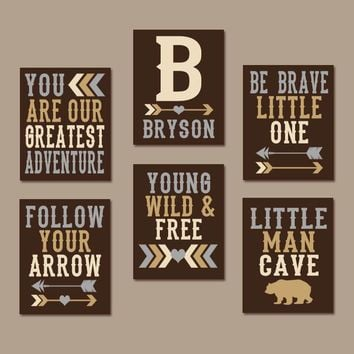 WOODLAND QUOTE Wall Art Canvas or Prints Greatest Adventure, Young Wild Free, Follow Arrow, Man Cave, Boy Tribal Nursery Decor, Set of 6