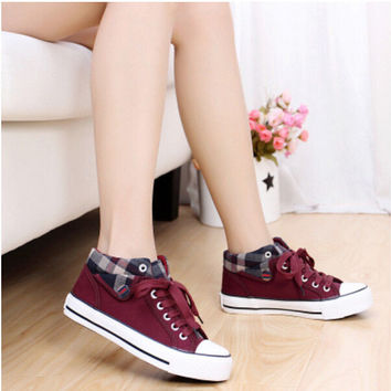 Canvas Women Lace Up Round Toe Running Board Flat Students Shoes Casual C1376