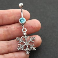 silver snowflake Belly Button Rings, snow belly button ring, nautical jewelry, winter Christmas snow belly button ring