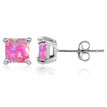 925 Silver 5mm Square Lab Created Pink Opal Stud Earrings