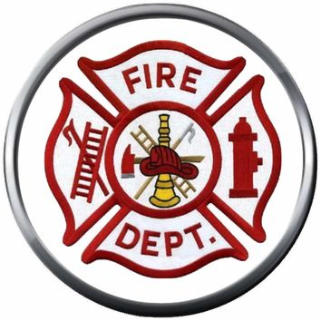 Red Maltese Cross Fire Rescue Ladder Fireman Firefighter Thin Red Line Courage Under Fire 18MM-20MM Snap Charm Jewelry