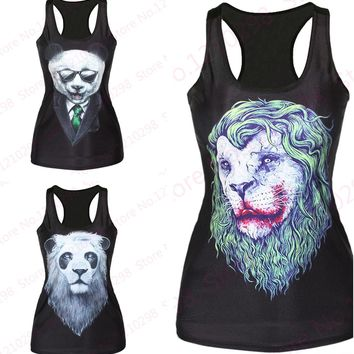 3D animal Lion Printed Sports Tanks Tops Women Sleeveless Yoga shirts Bodybuilding Fitness Panda Camisole for Girls
