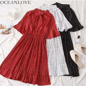 OCEANLOVE Vintage Dot Flare Sleeve Knee-length Dress 2019 Summer Bow Collar Lace Up Women Dresses A-line Pleated Vestidos 11484
