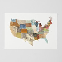 Susan Farrington Contiguous Map Of The United States Art Print - Urban Outfitters