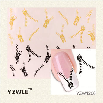 YZWLE 1Pcs Nail Art Sticker Nails Beauty Wraps Foil Polish Decals Temporary Tattoos (YZW1268)
