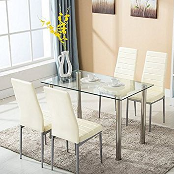 Mecor 5 Piece Kitchen Table Set Dining Table & 4 Leather Chairs ,Beige