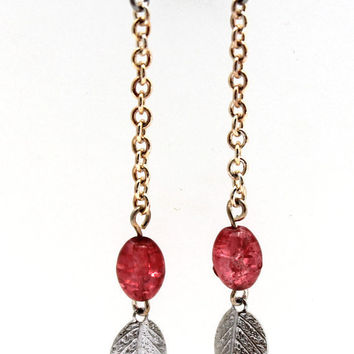 Long Dangle Sweep Earring With Pink Crackle Glass by SeventhChild