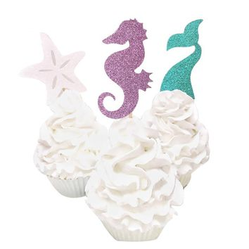 FunPa 12PCS Cake Topper Glitter Mermaid Theme Cupcake Topper Cupcake Pick Party Decor Topper For Baby Shower Birthday Party