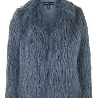 **Mongolian Faux Fur Coat By Kendall + Kylie at Topshop - Blue