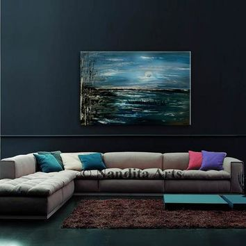 Original Landscape Painting on Canvas, Blue and Teal Water shore Views Wall Art by Nandita Albright