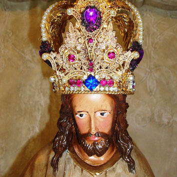 Large Jesus Christ Statue Santos Crown French Nordic Religious Statuary Catholic Statue Chateau Chic Cage Doll