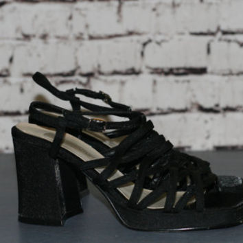 90s chunky platform high heels sandals black metallic Cyber Goth Punk Grunge boho Festival hipster club kid pastel us 7.5 7 1/2 ankle strap