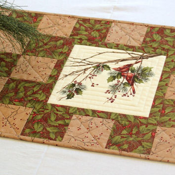 cardinal table runner quilted christmas table runner holly and pines table quilt