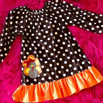 Princess Thanksgiving Polka Dot Turkey Dress