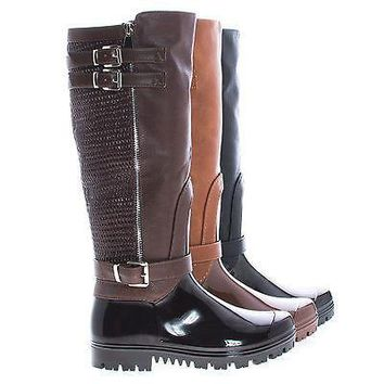 Carrie62 By Forever, Knee High Round Toe Strappy Textured Rain Boots