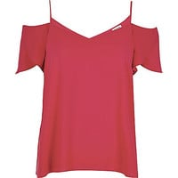 River Island Womens Red cold shoulder frilly sleeve top