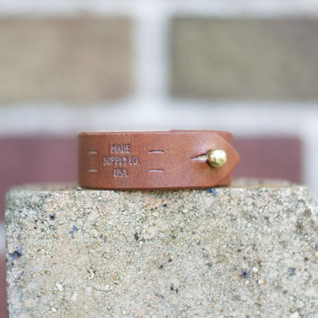 The Lyons - Tan Leather Unisex Cuff