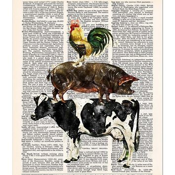 3 Stacked Farm Animals, Cow, Pig, Rooster, Farmhouse Decor Dictionary Print