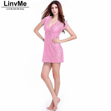 Women Pink Beach Dress Cover Up Sexy Lacing Solid Color Beach Tunic