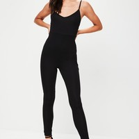 Missguided - Black Jersey Strappy Unitard Jumpsuit