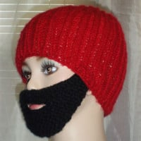 Pattern Bearded Beanie Hat Knitting