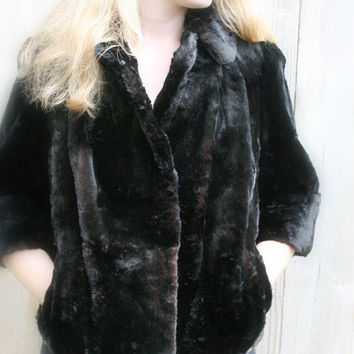 Vintage Black Faux Fur Women's Coat black 3/4 sleeve 1950s evening holiday party
