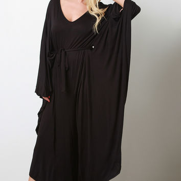 Connected Sleeve Oversize Belted Jumpsuit