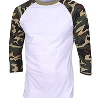TL Men's Baseball Crew Neck Cotton Long or 3/4 Sleeve Essentail Raglan Tee Shirts (LARGE, CAMO-GREEN)