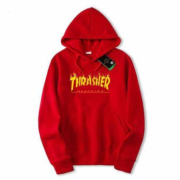 ONETOW Men/Women sportswear Thrasher hoodie flame skateboard dead fly west hip-hop harajuku hooded fleece Thrasher THRASHER sweatshirt Red