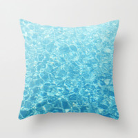 Crystal Oceans - Throw Pillow Cover, Caribbean Blue Beach Accent, Boho Chic Ombre Print Surf Nautical Décor in 14x14 16x16 18x18 20x20 26x26