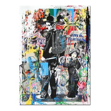 New Graffiti Street Wall Art Abstract Modern Flow color Charles Chaplin Portrait Canvas Oil Painting On Prints For Living Room